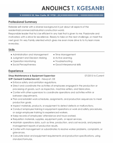 Locomotive Engineer resume example Delaware
