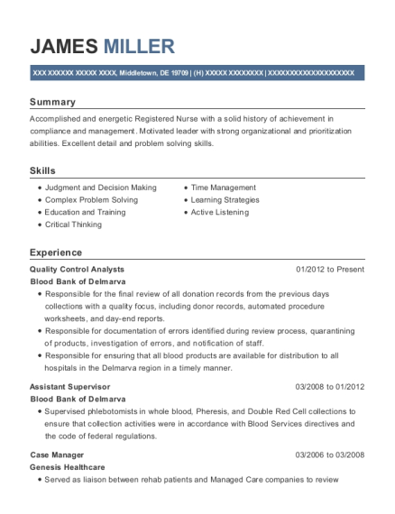 Quality Control Analysts resume template Delaware