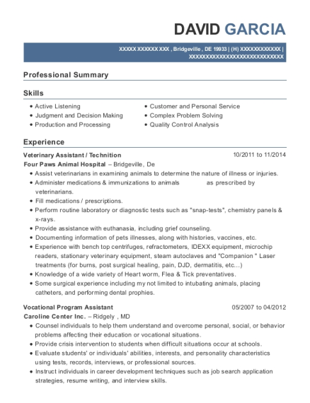 Veterinary Assistant resume example Delaware