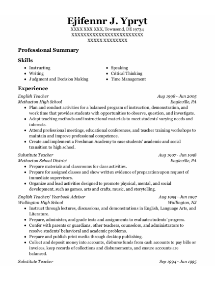 English Teacher resume format Delaware