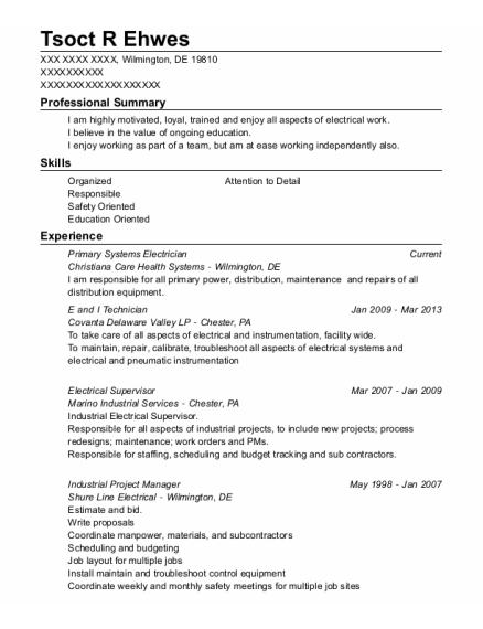 green pastures group electrical supervisor resume sample