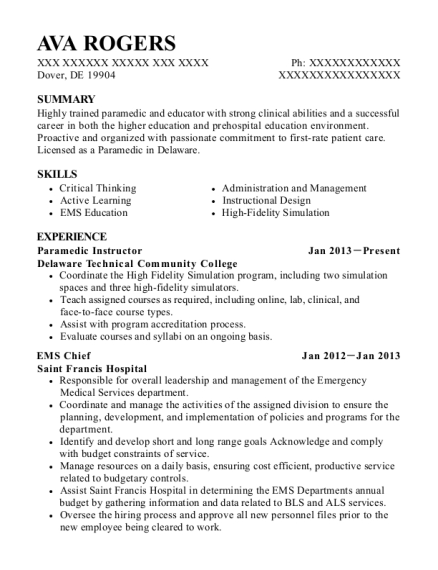 Paramedic Instructor resume sample Delaware
