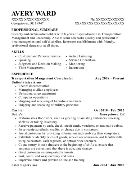 Transportation Mangement Coordinator resume example Delaware