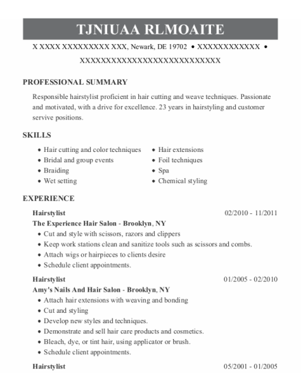 Hairstylist resume format Delaware