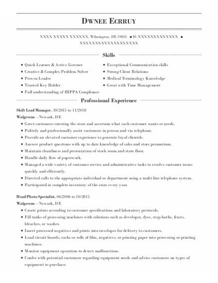 Shift Lead Manager resume template Delaware