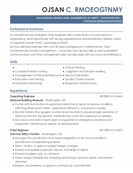 Operating Engineer resume format District of Columbia