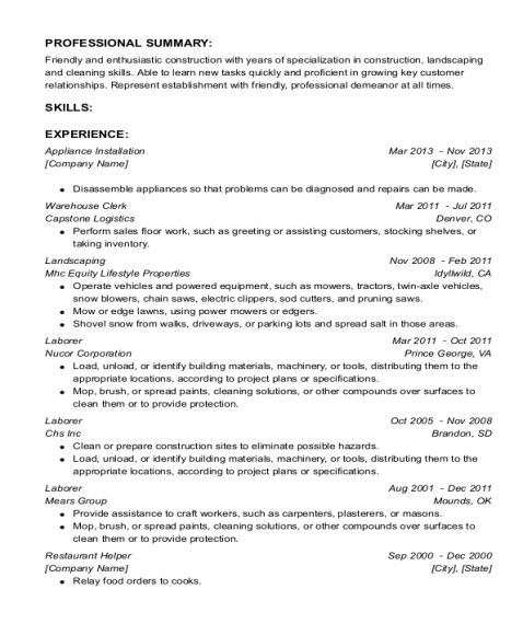 Appliance Installation resume format District of Columbia