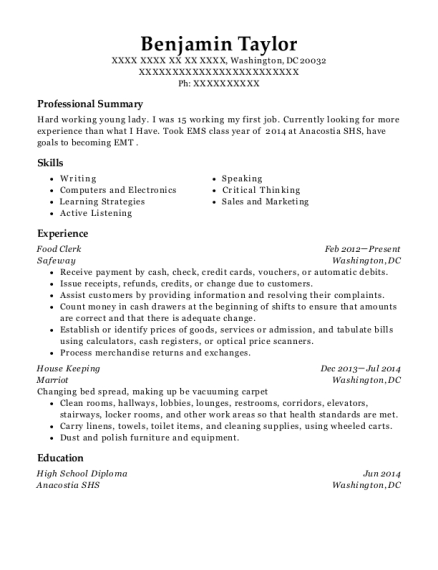 Food Clerk resume sample District of Columbia