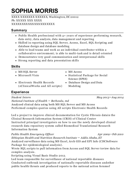 Student Intern resume template District of Columbia