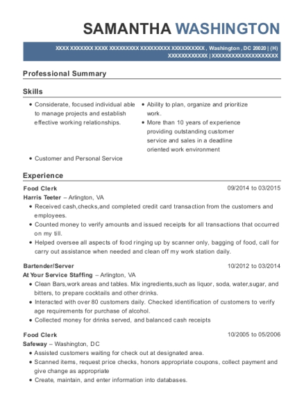 Food Clerk resume template District of Columbia