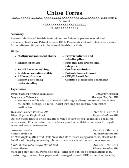 Direct Support Professional resume sample District of Columbia