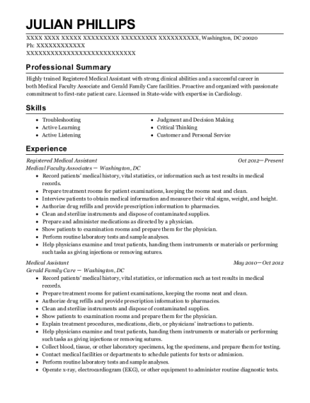 Registered Medical Assistant resume sample District of Columbia
