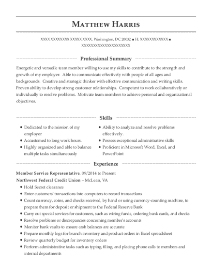 Member Service Representative resume example District of Columbia