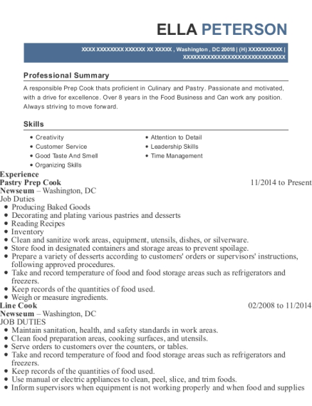 Pastry Prep Cook resume sample District of Columbia