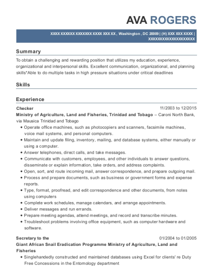 Checker resume template District of Columbia