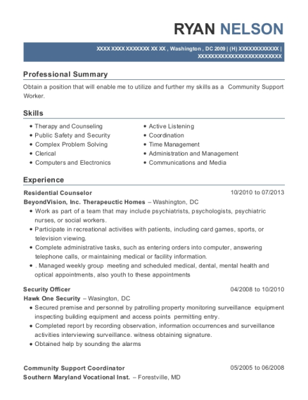 Residential Counselor resume example District of Columbia
