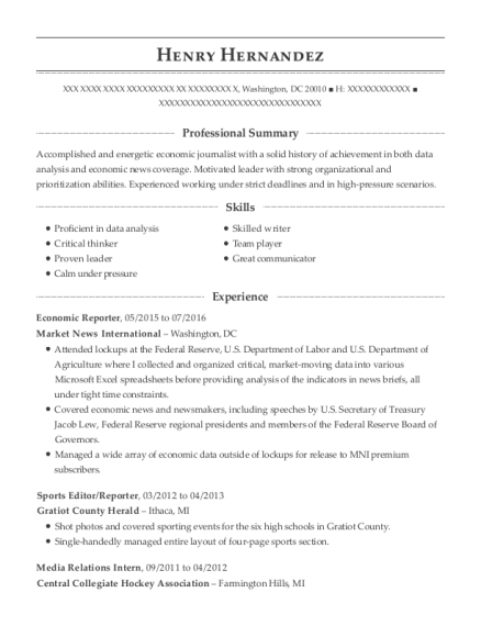 Economic Reporter resume example District of Columbia