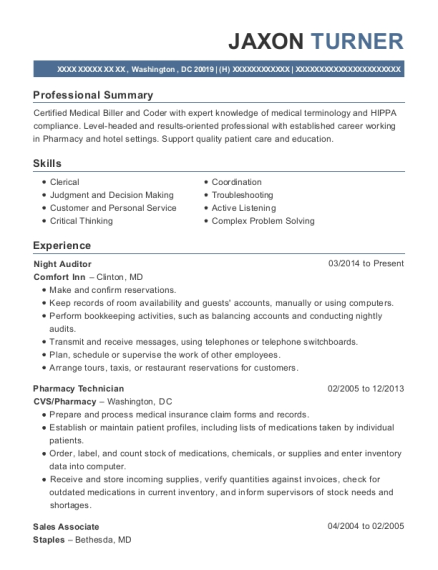 Night Auditor resume format District of Columbia
