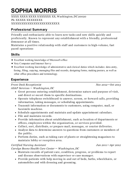 Front Desk Receptionist resume format District of Columbia