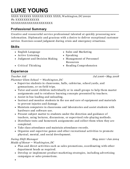 Teacher Aid resume template District of Columbia