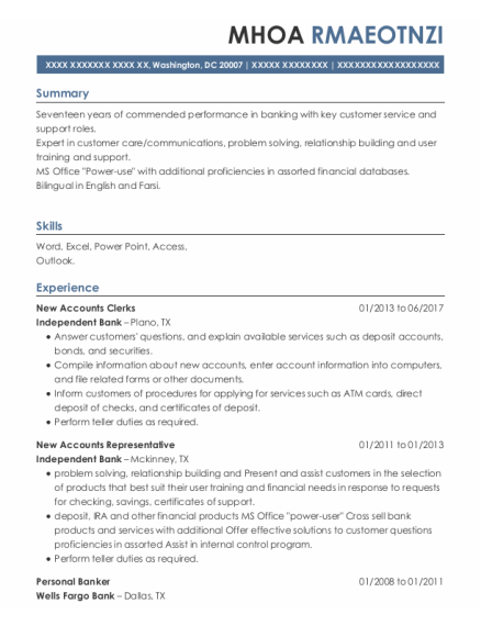 New Accounts Clerks resume format District Of Columbia