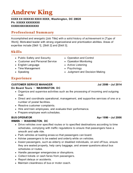 Customer Service Manager resume format District of Columbia