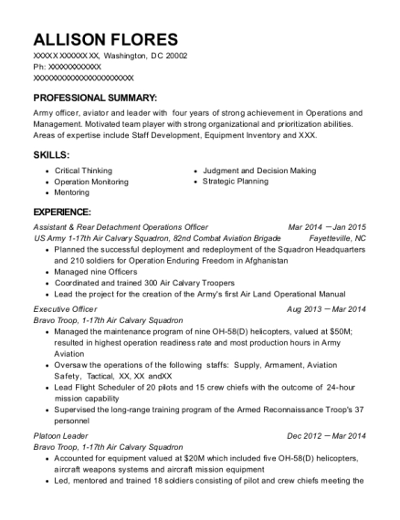 Assistant & Rear Detachment Operations Officer resume format District of Columbia