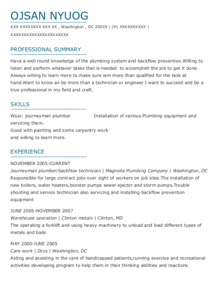 Journeyman Plumber resume format District Of Columbia