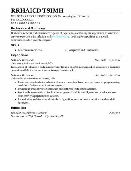 Network Technician resume sample District Of Columbia