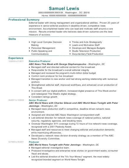Executive Producer resume sample District of Columbia