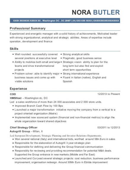 COO resume example District of Columbia