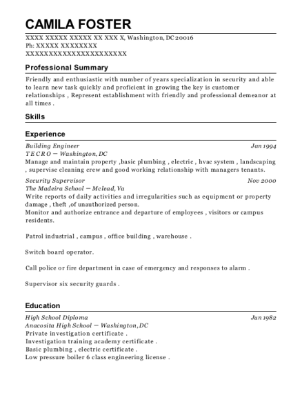 Building Engineer resume example District of Columbia