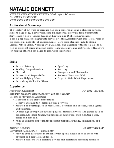 Playground Assistant resume format District of Columbia