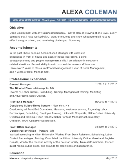 General Manager resume sample District of Columbia