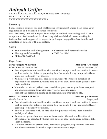 direct support person resume template District of Columbia