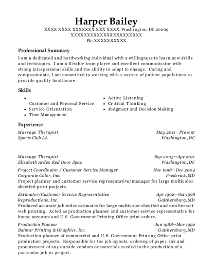 Massage Therapist resume example District of Columbia