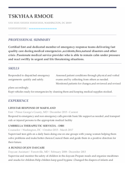 EMT resume example District Of Columbia