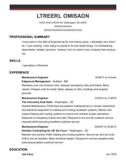 Maintenance Engineer resume template District Of Columbia