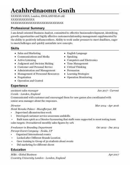 Assistant Sales Manager resume format ENGLAND