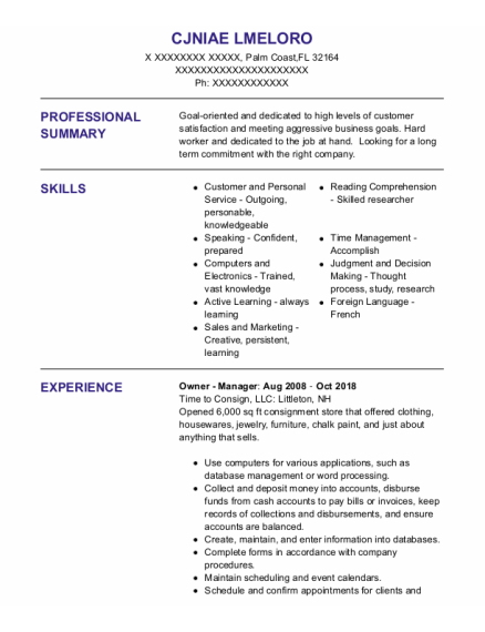 HR Manager resume template Florida
