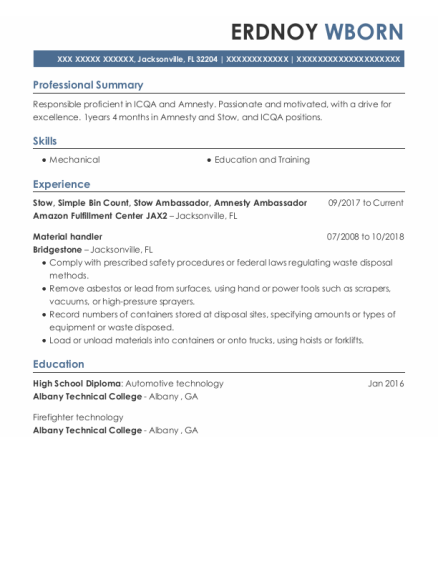 amazon stow resume sample