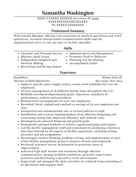Director of Field Operations resume example Florida
