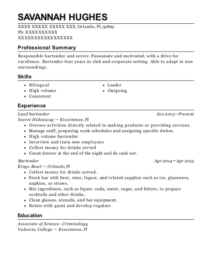 Lead bartender resume sample Florida