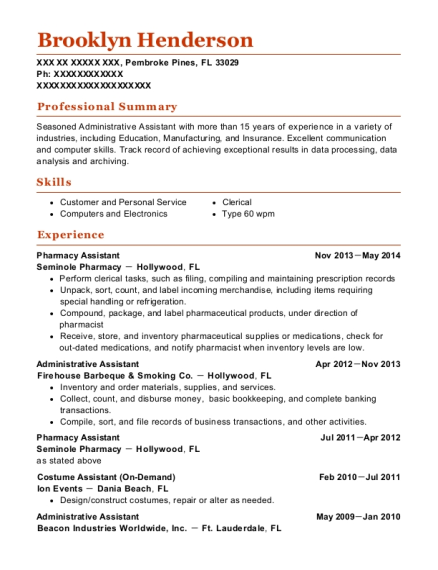 Pharmacy Assistant resume format Florida