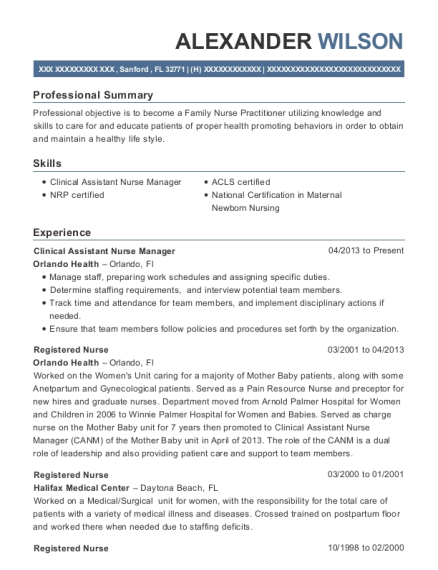 Clinical Assistant Nurse Manager resume sample Florida