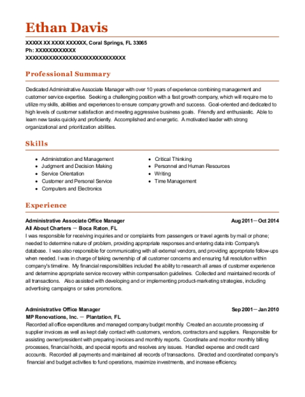 Administrative Associate Office Manager resume example Florida