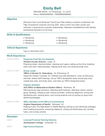 Temporary Food Service Assistant resume template Florida