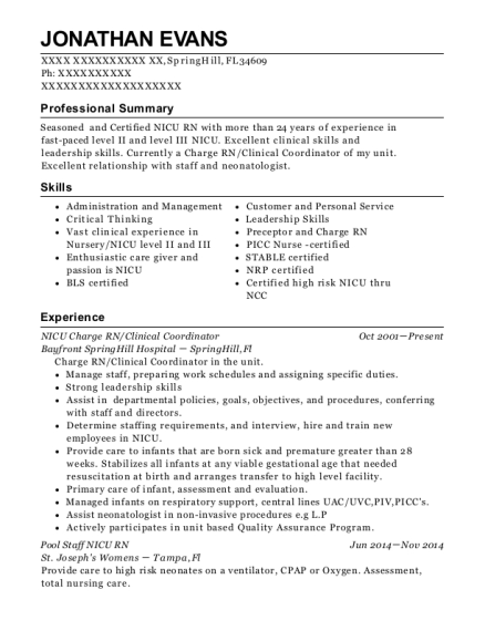 NICU Charge RN resume template Florida