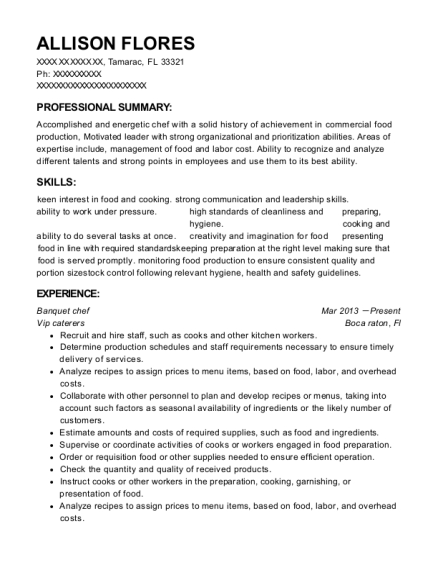 Banquet chef resume template Florida
