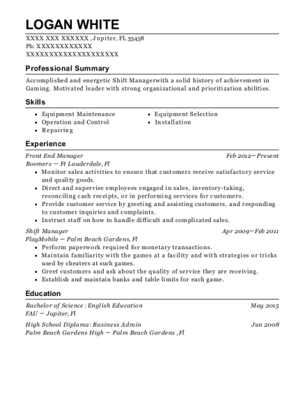 Front End Manager resume example Florida